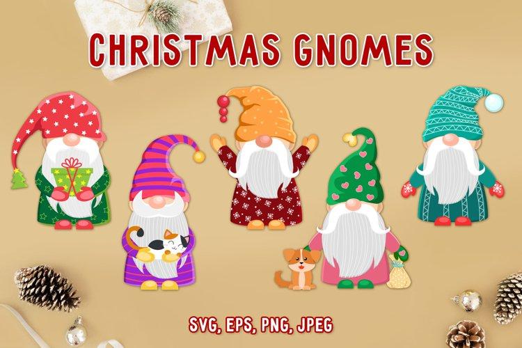 Christmas gnomes vector clipart svg. Holiday cartoon gnomes. example image 1