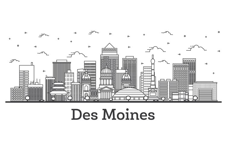 Outline Des Moines Iowa City Skyline with Modern Buildings example image 1
