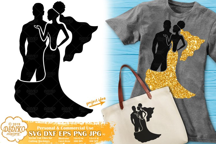 Wedding SVG | Bride and Groom SVG | Black Woman| Married SVG example image 1