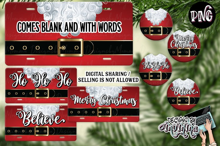 Santa Belt Car Plate and Car Coasters Sublimation PNGs