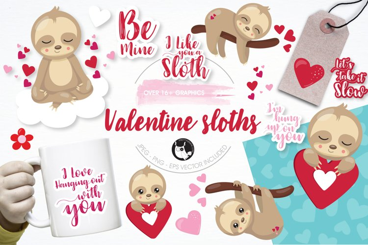 Valentine sloths graphics and illustrations example image 1