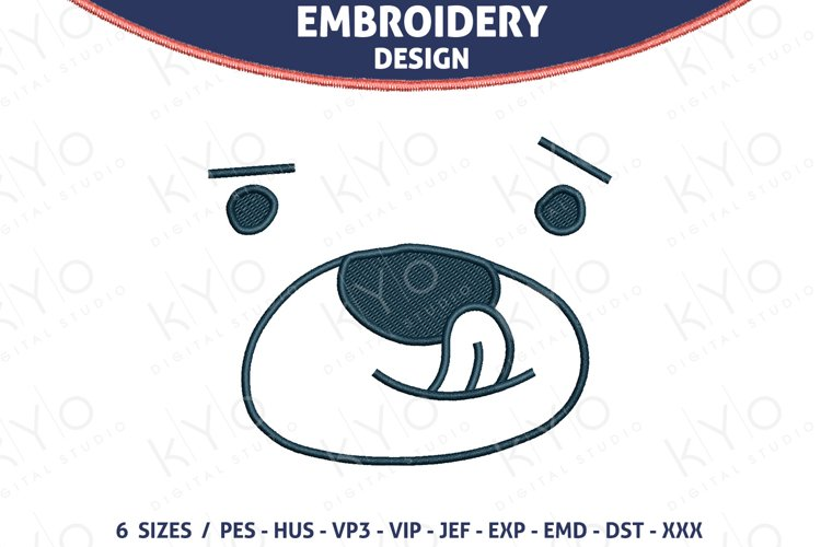 Bear Face with tongue nursery embroidery design files example image 1