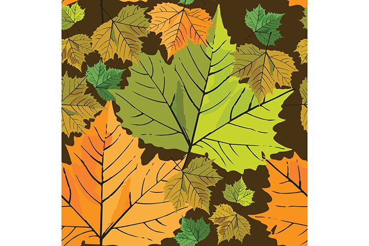 Seamless pattern with maple leafs background