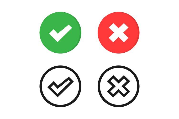 Vector checkmark icons set. Check mark and cross symbol example image 1