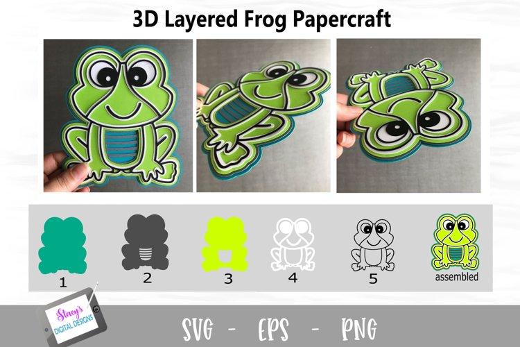 3D Layered Frog SVG Design