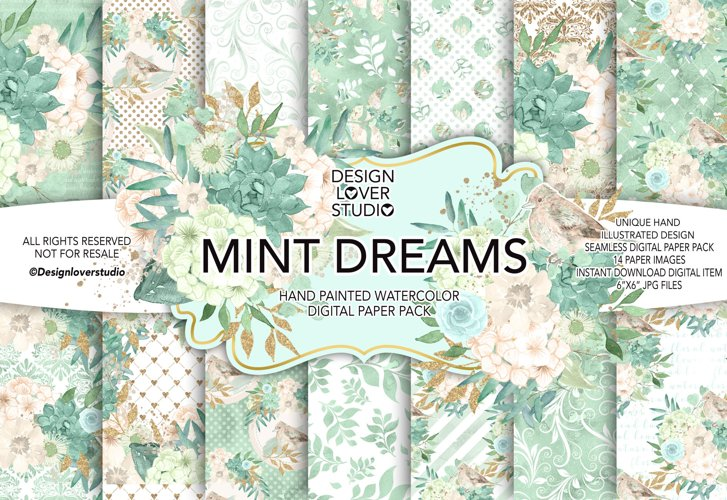 Watercolor MINT DREAMS digital paper pack example image 1