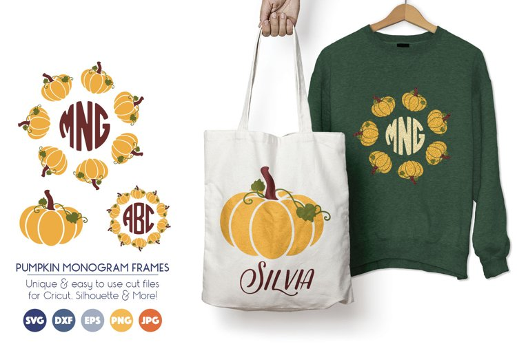 Pumpkin Monogram Frames - Halloween, Thanksgiving SVG example