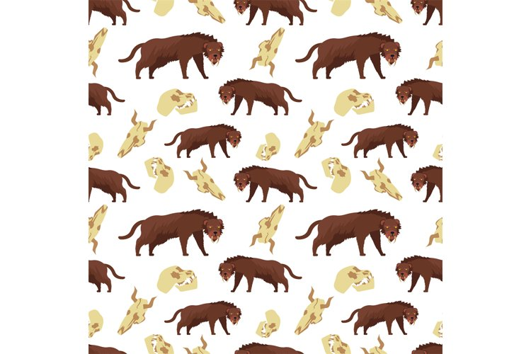 Cartoon tiger and skulls seamless pattern background example image 1