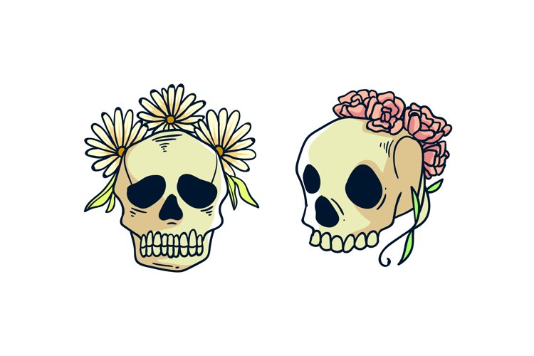 Skull with Flowers Illustrations