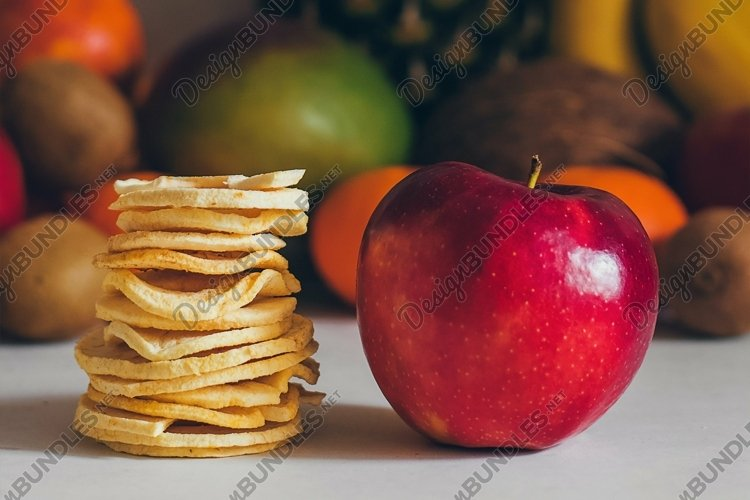 Dried homemade healthy fresh dehydrated slices of fruits.