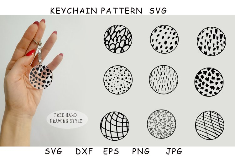 Keychain patterns SVG.Free drawing style. Pattern in a circl