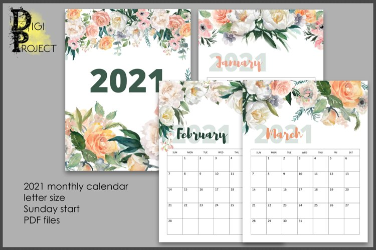 2021 Flowers Wall Calendar, Printable Watercolor