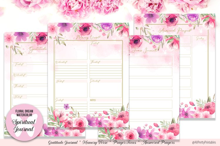 Floral Dream Watercolor Spiritual Journal Printable Planner example image 1