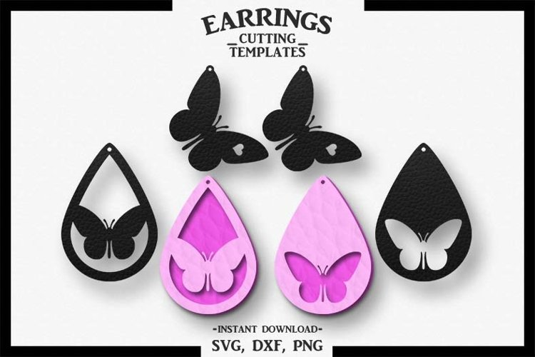 Butterfly Earring, Silhouette Cameo, Cricut, Cut,SVG DXF PNG example image 1