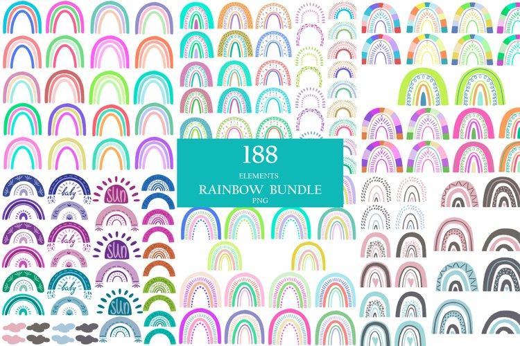 Bundle summer colorful rainbowes clipart