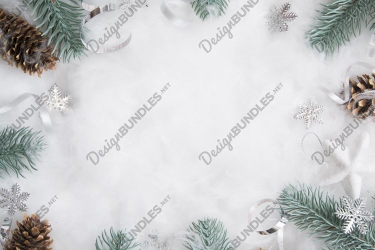 Christmas layout of pine branches and decor copy space