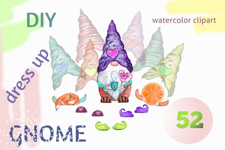 Dress up the gnome, watercolor clipart PNG example image 1