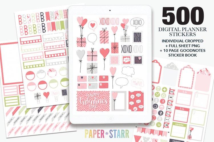 500 Valentines Day Digital Planner Stickers