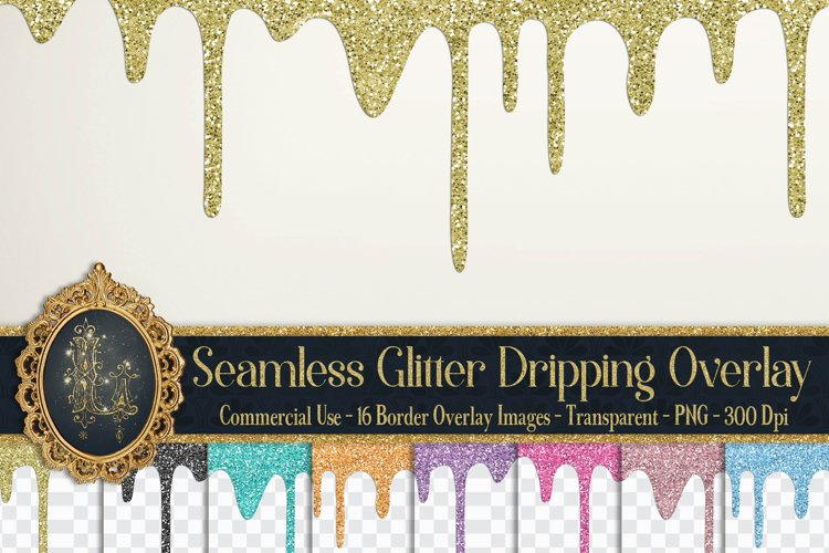 16 Seamless Glitter Dripping Melted Overlay Images 16 Colors
