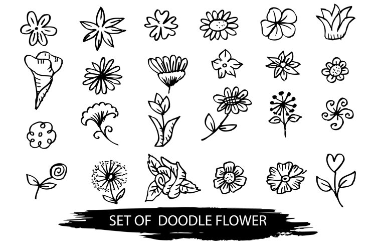 Set of doodle flower