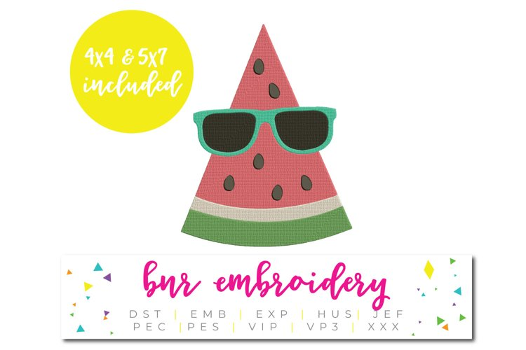 Watermelon Machine Embroidery Design, Summer Embroidery example image 1