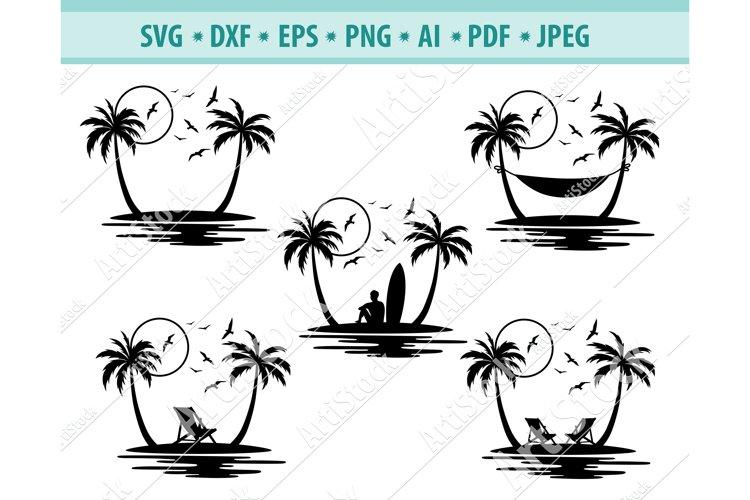 Palm tree Svg, Beach Svg, Tropical island Svg, Png, Eps, Dxf
