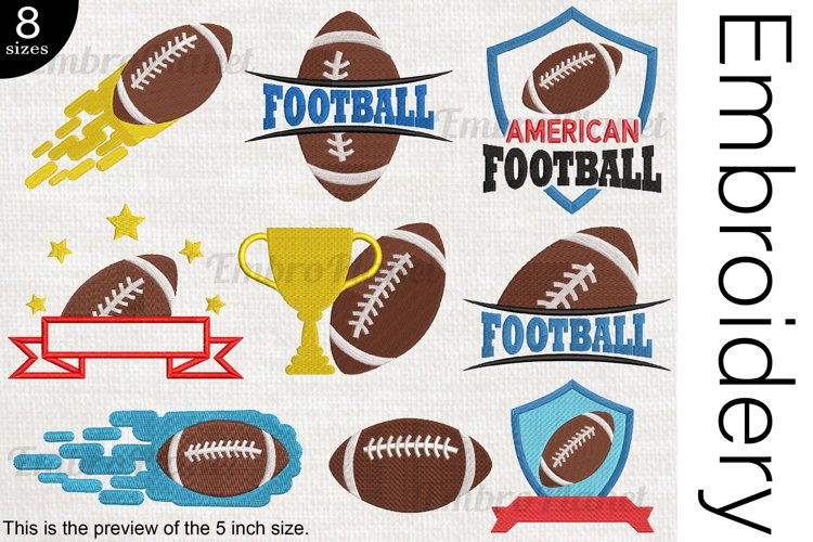 American Football - Embroidery Files - 1469e example image 1