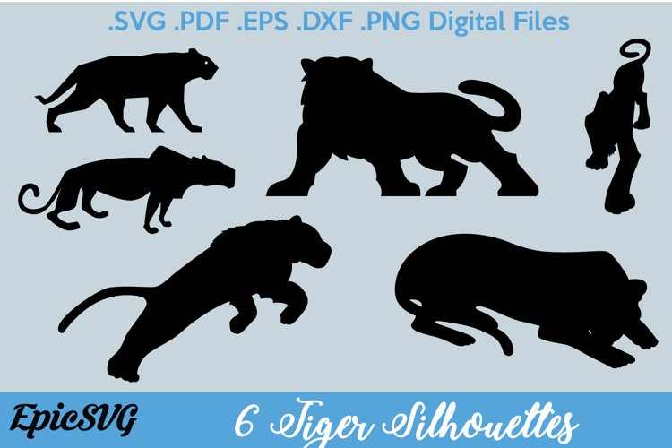 6 Tiger Silhouettes | Digital Files for Cutting Machine
