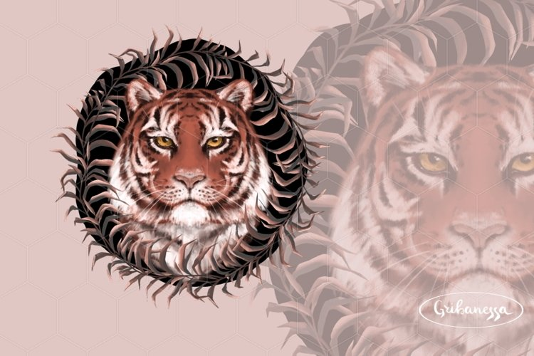 Tiger portrait with wreath example image 1