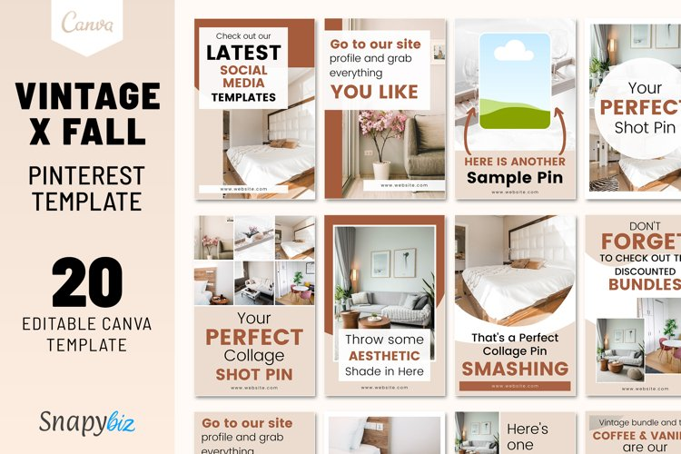 Vintage x Fall Pinterest Canva Template example image 1