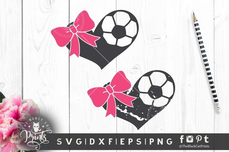 Soccer hearts bow SVG DXF EPS PNG Soccer clip art Distressed