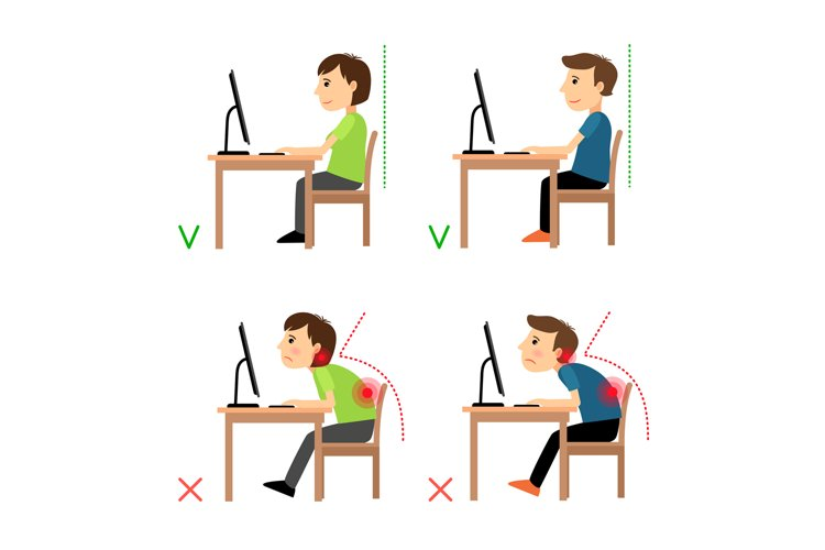 Incorrect and Correct back sitting position example image 1