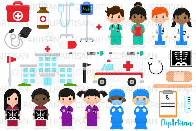 Doctor and Nurse Clipart, Hospital Clip Art, Ambulance example image 1