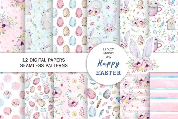 Watercolor Spring Easter Digital Paper, Seamless Pattern example image 1