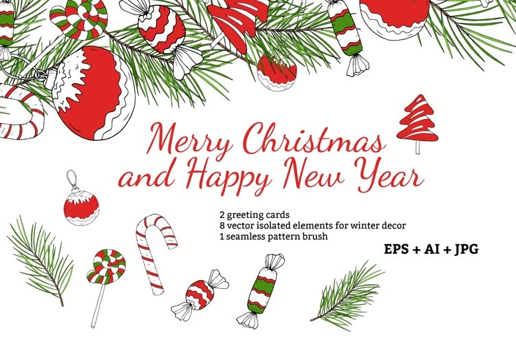 Merry Christmas greeting cards and 8 vector decor elements example image 1
