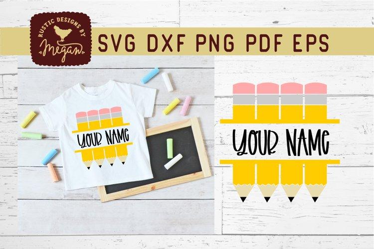 Back To School Pencil Monogram SVG example image 1
