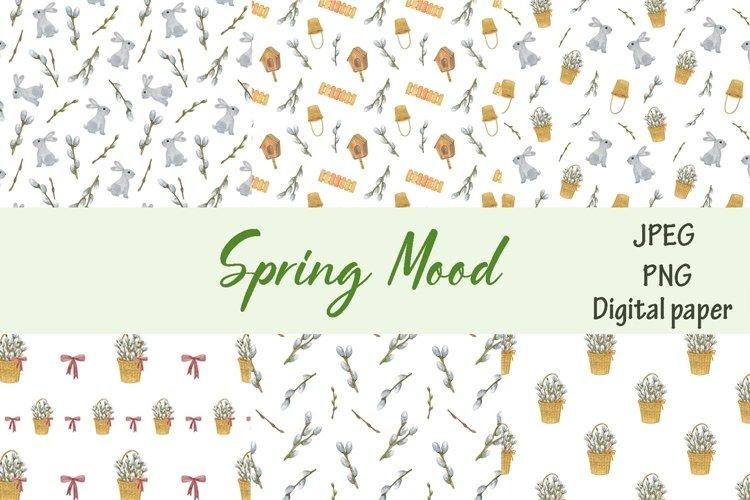 Spring watercolor digital paper