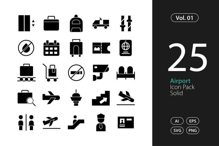Airport Icon Solid SVG, EPS, PNG