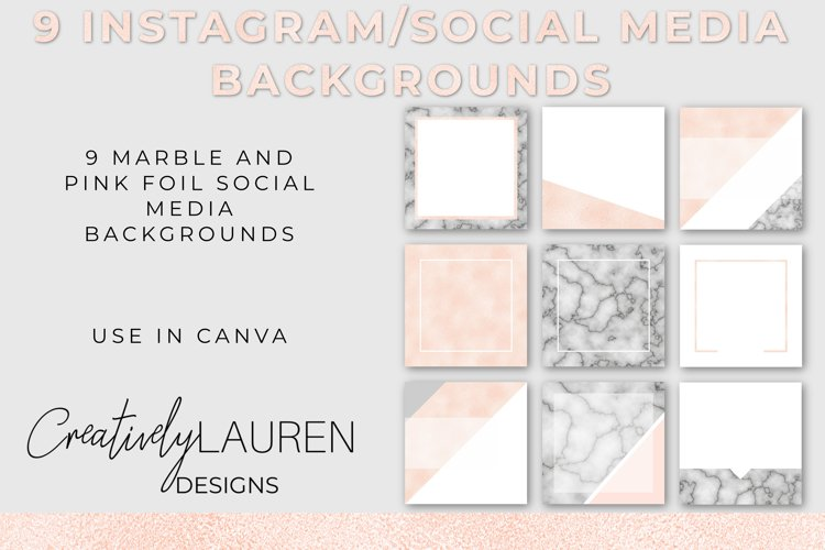 Marble and Pink Foil Instagram Template Pack example image 1