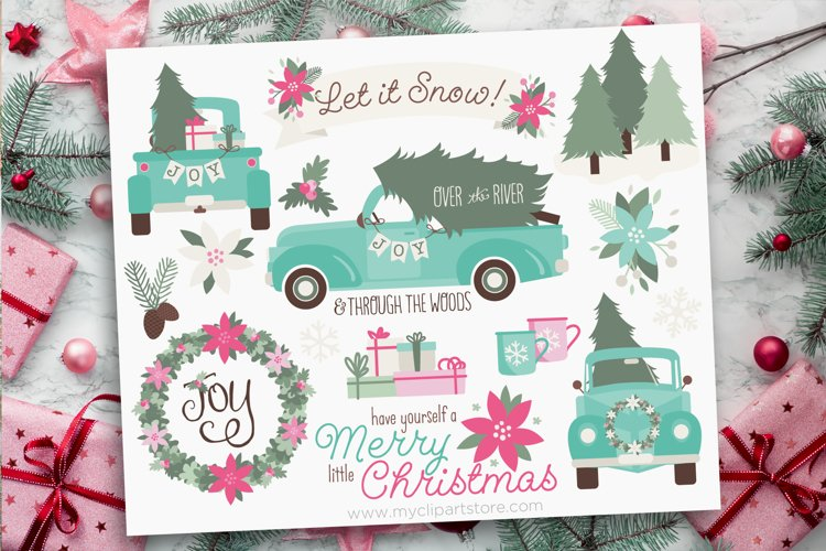 Vintage Blue Christmas Truck Clipart - Vector Clip Art & SVG example image 1