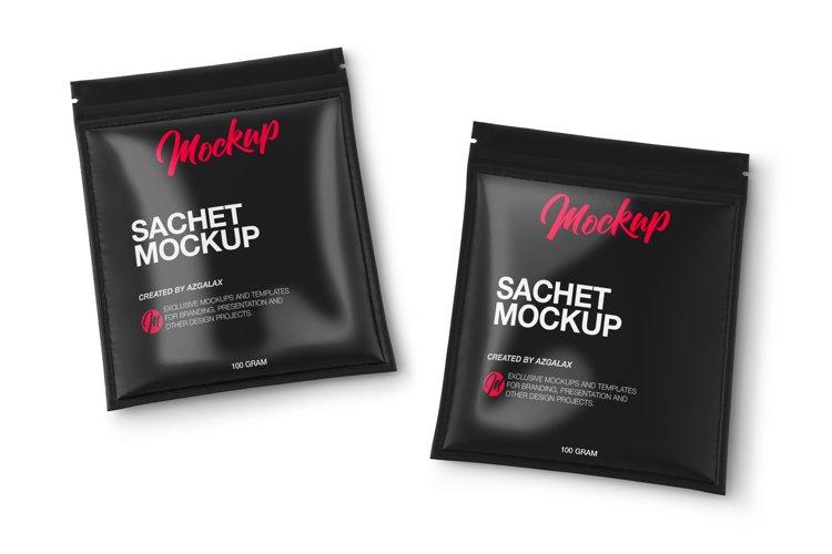 Two Glossy Sachets Mockup