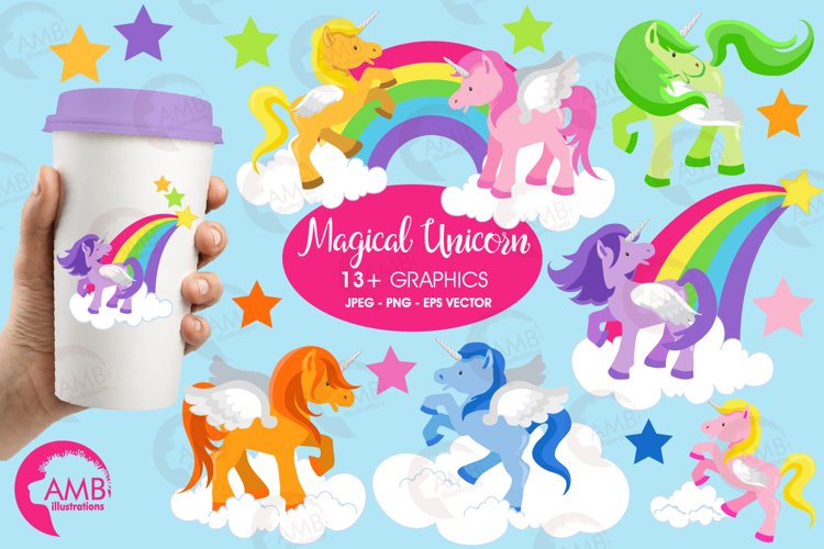 Magical Unicorns clipart, graphics and illustrations AMB-160 example image 1