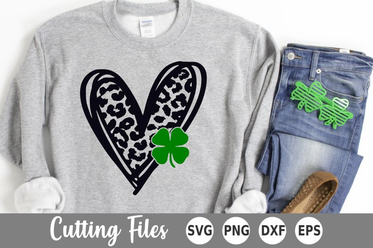 St Patricks Day SVG | Shamrock SVG | Leopard Heart SVG