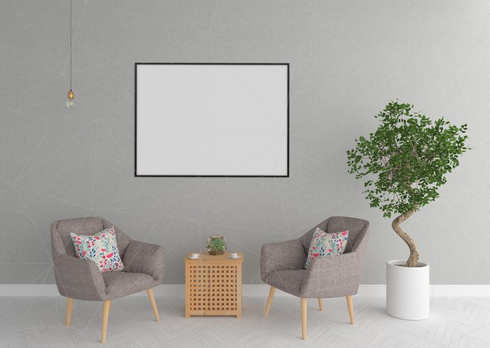Interior mockup - blank wall mock up example image 1