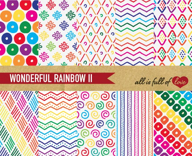 Hand Draw Background Patterns Rainbow Digital Paper example image 1