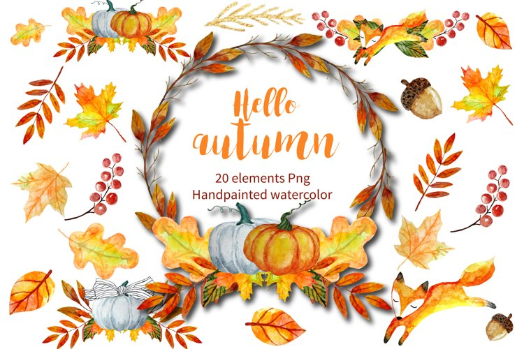 Autumn Clipart Watercolor example image 1