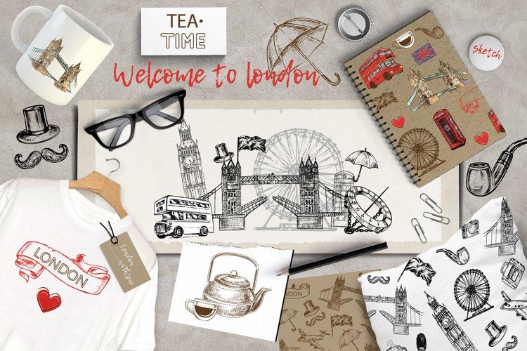 Set of hand drawn sketch illustration London example image 1