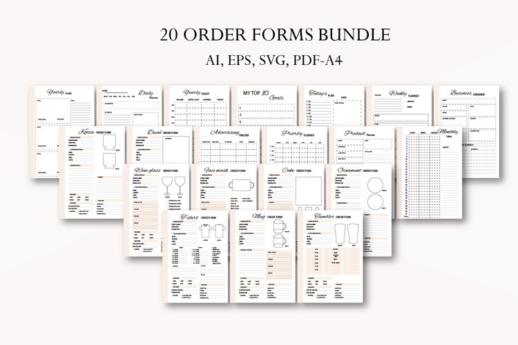 Order form bundle, Crafters business bundle, T-shirt form