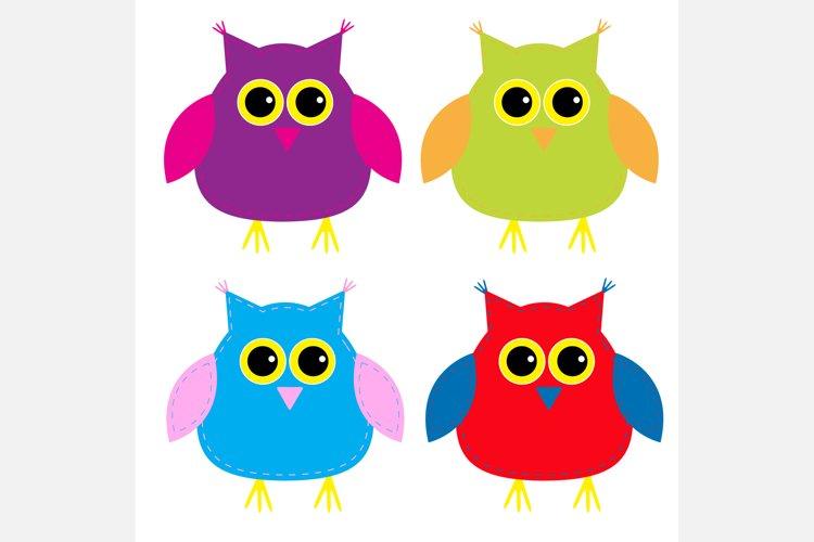 Set of cute cartoon owls. example image 1