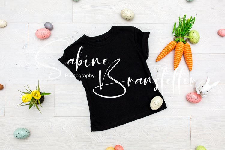 Mockup - Black Toddler/Kid's T-shirt Easter Photography example image 1